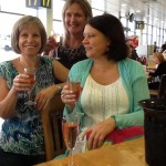 Lesley and girls enjoying a pre hol tipple