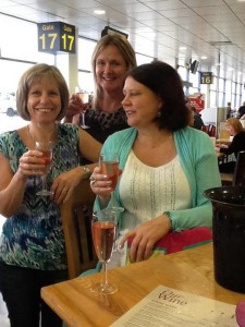 Lesley and girls enjoying a pre hol tipple